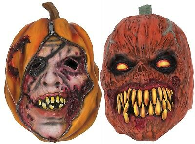 Halloween Horror Scary Evil Unzipped Pumpkin Latex Rubber Face Mask Fancy Dress - Horror Face Mask