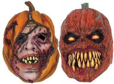 Halloween Horror Scary Evil Unzipped Pumpkin Latex Rubber Face Mask Fancy Dress