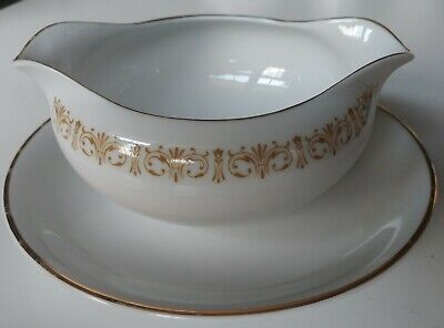 Japan Sheffield White China Imperial Gold Scroll Dbl Spouted GRAVY BOAT 1.5 cup