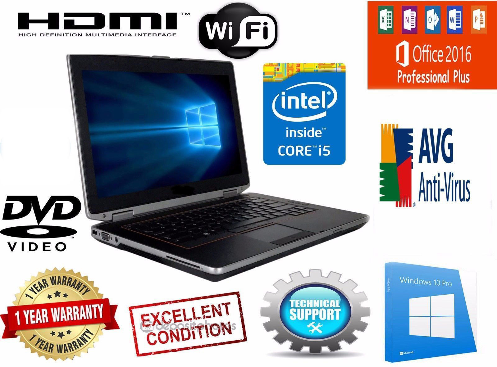 DELL LATITUDE Laptop Computer PC CORE I5 Windows PRO 500GB WiFi DVD NOTEBOOK HD