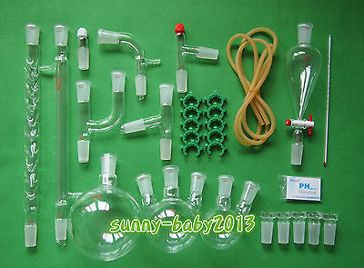 Lab Chemistry Glassware Kit With 2440 Glass Ground Joint29pcsfree Shipping