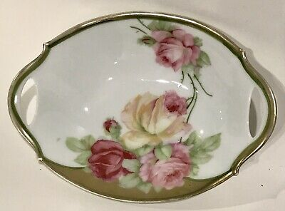 Royal Bavaria PMB Antique Celery Tray Circa 1890s Pink Rose and Yellow Rose 11 12 Porcelain Serving Dish Reticulated Christmas Tray