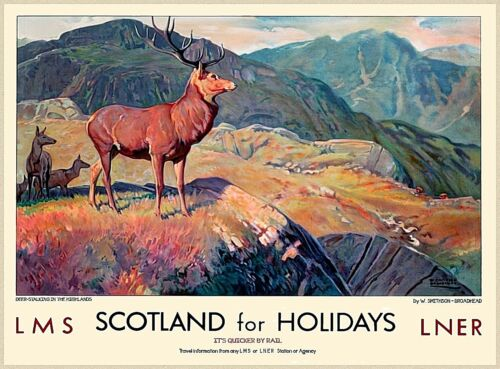 Scotland Holidays Great Britain Railways Vintage Travel Advertisement Poster