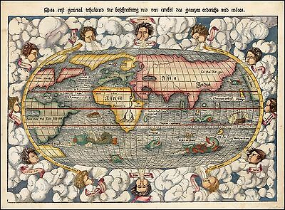 1550 world map with sea monsters and 12 wind heads Münster POSTER 31347