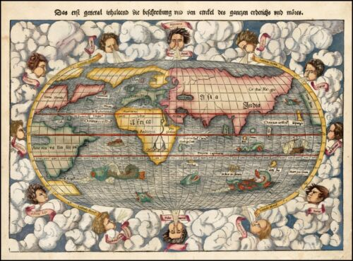 1550 sea monsters world map with and 12 wind heads Münster POSTER 31347