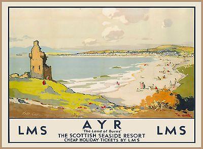 AYR Ayrshire Scotland Scottish Vintage Railway Travel Advertisement Poster