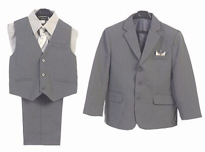 Boys Suit Gray Silver Formal Boy Toddler Kids Graduation Wedding Party New 2-20