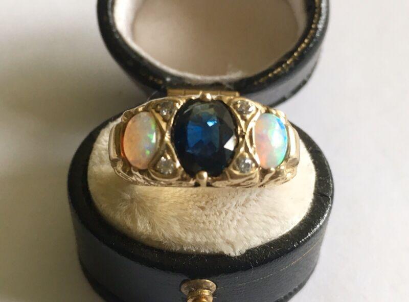 Antique Vintage 14k Ring With Sapphire, Opals & Diamonds