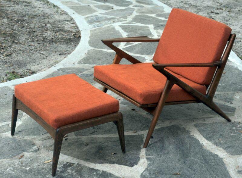 Poul Jensen Seliz Z Lounge Chair with Ottoman- Danish Modern