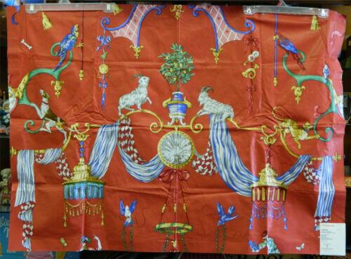 "Scalamandre Colorful Venetian Carnival Hand Printed Chintz Cotton Fabric 34x48"""