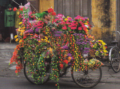 Ansichtskarte: Blumenhändler mit Fahrrad, Vietnam - the florist bike