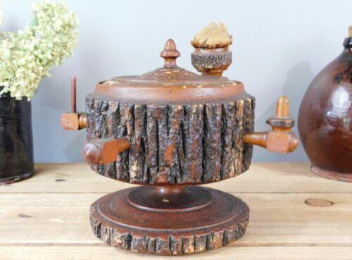 AAFA Primitive Folk Art Treen Turned Wood Sewing Box Pin Cushion Acorn Finial