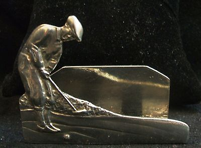 Vintage Seagull Pewter Golfer Business Card Holder Made In Canada
