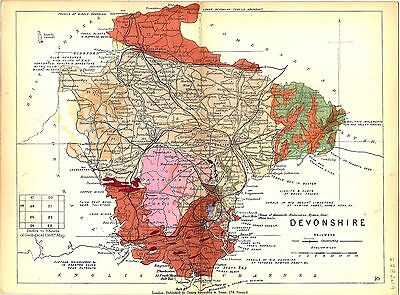 Antique map, Devonshire