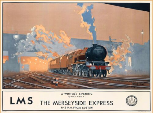 Merseyside Express British Railways England Vintage Travel Advertisement Poster