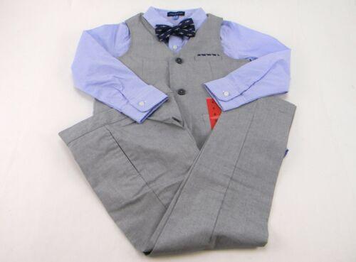 Andy & Evan Boys 4-pc Party Suit Set Dress Shirt/Vest/Pants/Bow Tie Size 6 Gray