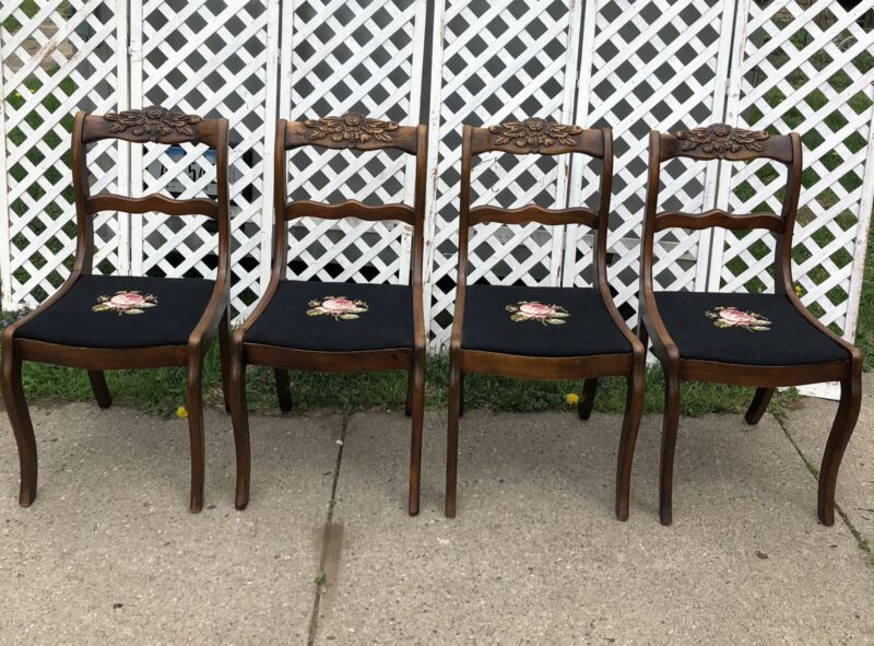 Duncan Phyfe Rose-Back Dining/Side Chairs, Set of 4 Needlepoint