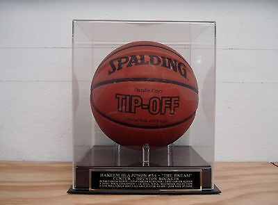 Basketball Display Case With A Hakeem Olajuwon Rockets Engraved Nameplate
