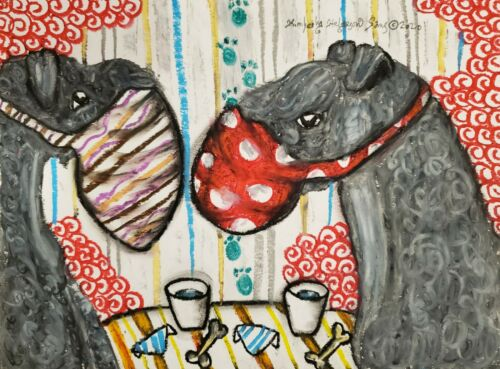 KERRY BLUE TERRIER in Face Mask Dog Pop Folk Art Print 8 x 10 Signed by Artist