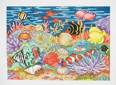 """Undersea World"" Fish & Creatures Fish Tank handpainted 18m Needlepoint Canvas"