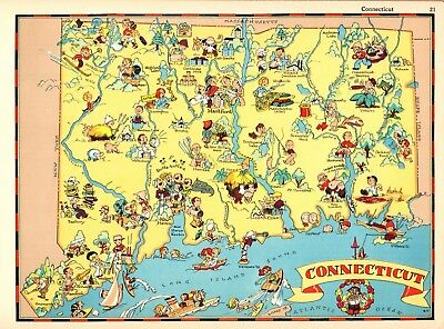 - 1938 RARE Antique CONNECTICUT State Map Ruth Taylor Picture Map RTW 6089