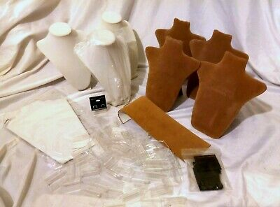Huge Lot Tan White Jewelry Display Bust Stands Earring Cards Acrylic Stands