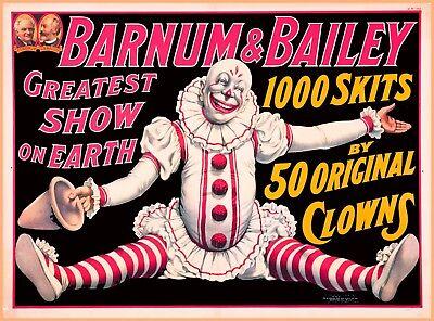 Barnum & Bailey 50 Original Clowns Vintage Circus Travel Advertisement Poster Barnum Bailey Circus Posters