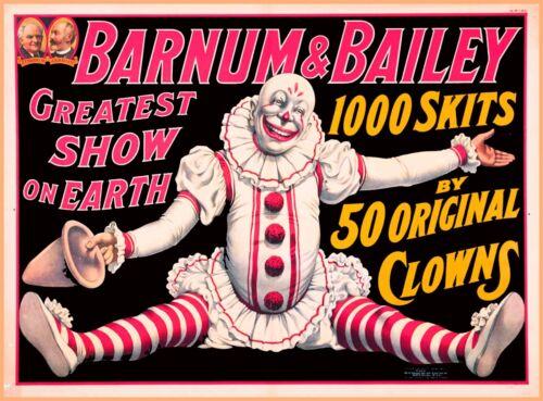 Barnum & Bailey 50 Original Clowns Vintage Circus Travel Advertisement Poster