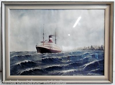 Antik Bild Kunstdruck Schiff Frachter Dampfer Passagier Dampfer Holzrahmen