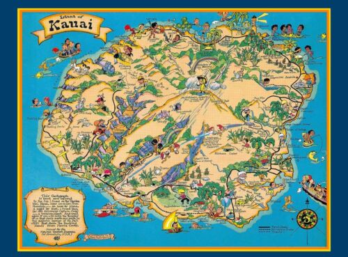 Hawaii Hawaiian Kauai Map United States America Travel Advertisement Poster
