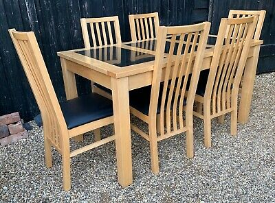 Contemporary Beech & Rubber wood Dining Table & 6 Chairs
