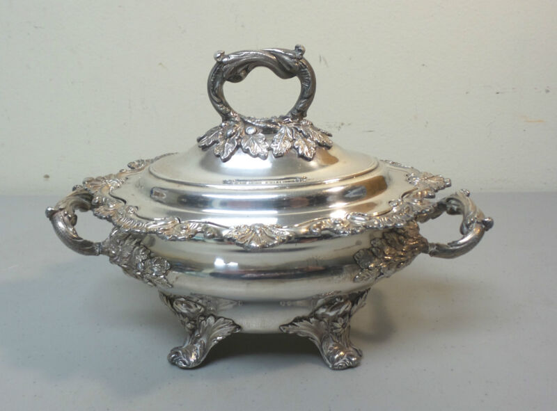 GORGEOUS OLD SHEFFIELD PLATE (OSP) LIDDED SAUCE TUREEN, c. 1830