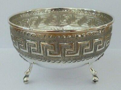 Antique Scandinavian Solid Silver Vase Dish Bowl Flower Pot Key Pattern 830 84g