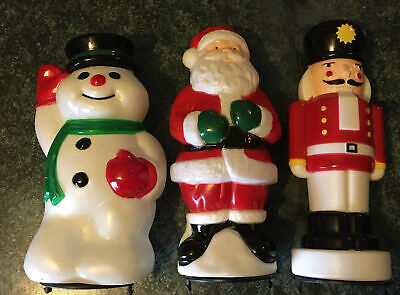 """3 Toro Pathway light Toppers Blow mold Santa, Snowman & Toy Soldier 10"""" Tall"""