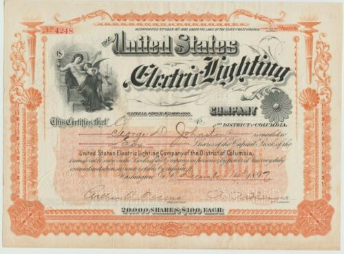 1897 United States Electric Lighting Company Stock Certificate West Virginia