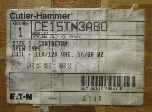 EATON CUTLER HAMMER CE15TN3A80 110/120VAC 420 Amp Size T CE15TN3 Contactor 3Pole
