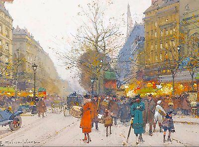 Boulevard Good Paris France Travel Advertisement Poster Eugène Galien-Laloue