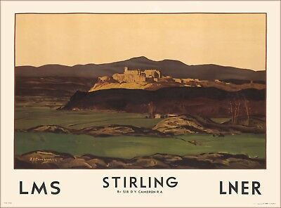 Stirling Scotland Scottish Vintage Great Britain Railroad Travel Poster Print
