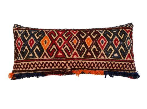 "Superb Custom Made  Lumbar Pillow W/ tribal afghan  Rug Fragment 20.5"""