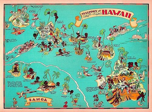 1940s Territory of Hawaii Map United States Vintage Travel Art Poster Print