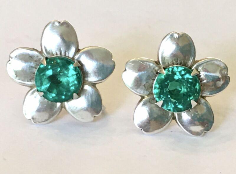 Vintage STERLING SILVER Dogwood Flower Green Rhinestone Screw Back Earrings