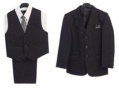 Toddler Suits Boys Black Formal Outfit Set Party Vest Pants Dress Shirt Tie New  - Black Boys Suits