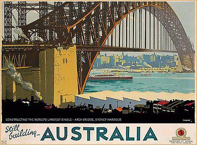 Sydney Harbour Arch Bridge Australia Vintage Travel Advertisement Poster  (Sydney Harbour Bridge Poster)