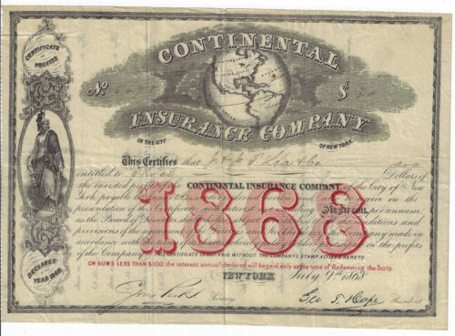 NEW YORK 1868 Continental Insurance Company Stock Certificate George T Hope