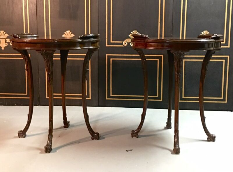 Gorgeous Pair Of Carved 1940's Side Tables