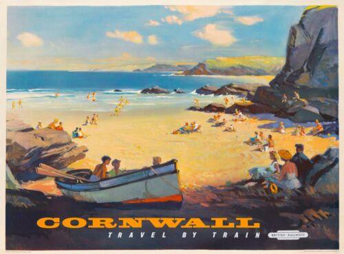 Cornwall Great Britain British England Vintage Travel Advertisement Poster
