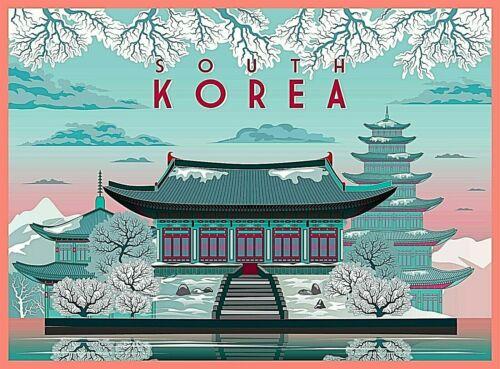 South Korea in Winter Travel Advertisement Art Poster Print.