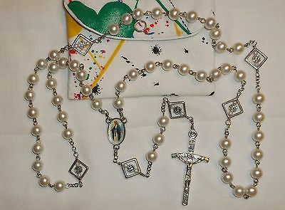 pearl white Rosary, Acrylic Rosary 8mm, Catholic Rosary, Handmade Rosary & pouch