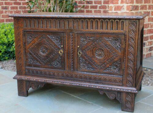 Antique English Chest Cabinet Trunk Blanket Box Coffer Renaissance Carved Oak