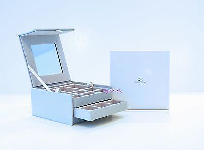 Swarovski Crystal Jewelry Box Silver Leather Finish Brand New in Box